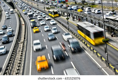 Controlled-access highway in Istanbul during rush hour.