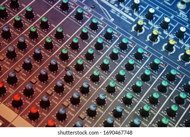 Controllers on professional audio mix pult. Professional DJ sound mixer.