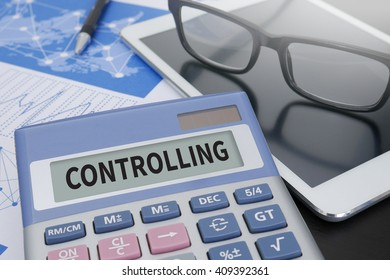 CONTROLLING Calculator  on table with Office Supplies. ipad