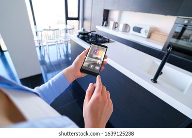 Controlling home online using the mobile application on smartphone. Smart home
