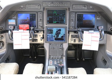 Controls in Cockpit of a Turboprop Airplane