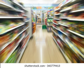 convenience store shelves with motion blur