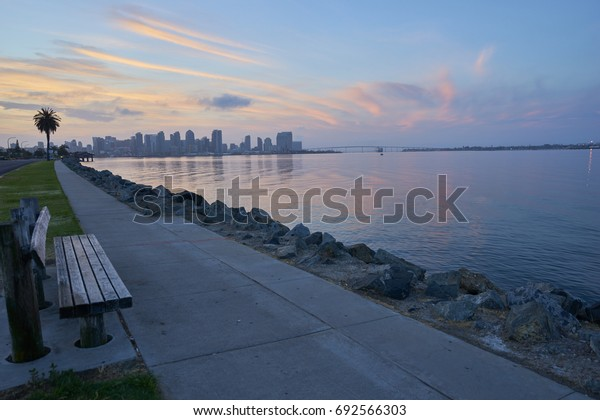 a convenient bench to enjoy the view from Harbor Island towards downtown San Diego