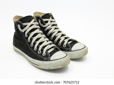 Convenient for sports mens sneakers in black thick fabric. Presented on a white background.