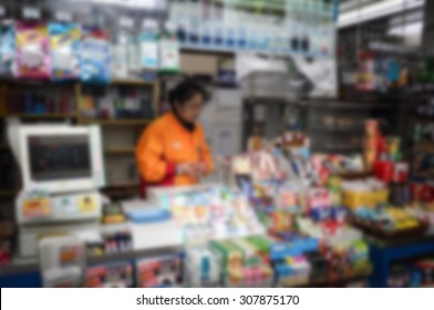 convenient store in subway at japan on blur background
