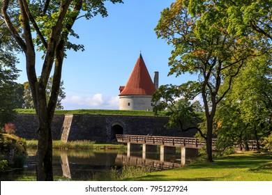 Convent Building, Kuressaare castle against a blue sky with clouds, Saaremaa island, Estonia