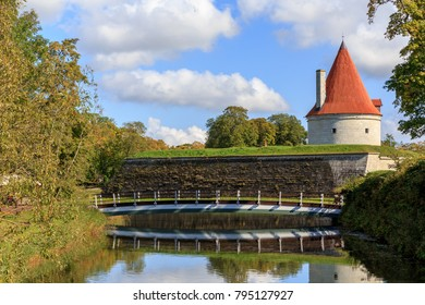 Convent Building, Kuressaare castle against a blue sky with clouds, Saaremaa island, Estonia