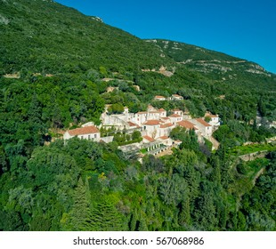 Convent of Nossa Senhora da Arrabida in the National Park in Portugal, aerial view