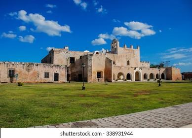 Convent of San Bernardino de Siena in Valladolid, Mexico. Sunny day, popular landmark