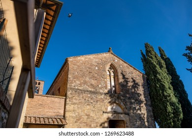 The convent of San Francesco Roman Catholic church in Gothic style in the medieval village of Colle di Val d'Elsa, Siena, Tuscany
