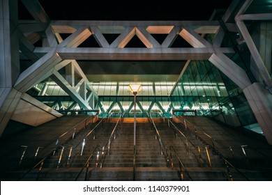 The Convention Center at night, in Baltimore, Maryland