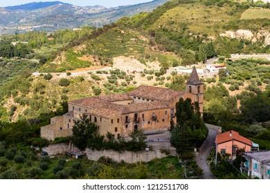Convento dei Carmelitani Calzati in San Piero Patti, a beautiful village in the Nebrodi Mountains Park in Sicily, province of Messina, Italy