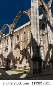 The Convento do Carmo is a roofless church in Lisbon, Portugal, in summer