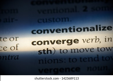 converge word in a dictionary. converge concept.