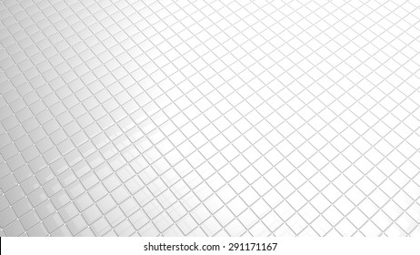 convergent perspective 3D white tiles background