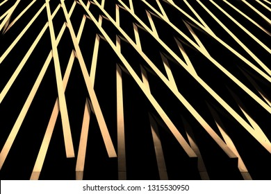 Converging lines in monochromatic scheme on exterior of building that appears abstract