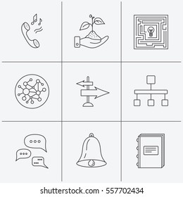 Conversation, global network and direction icons. Save nature, maze and book linear signs. Bell and phone ringtone flat line icons. Linear icons on white background.