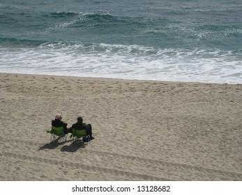 A conversation on the beach
