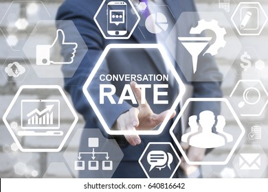 Conversion Rate Optimization Communication Business Social Network Internet Marketing Concept. Man pressing button conversation rate text on virtual screen.