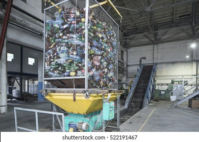 Conveyer for plastic recycling.Waste sorting.