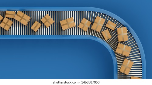 Conveyor belt with orders. Automatic mechanized logistics. 3D Illustration.