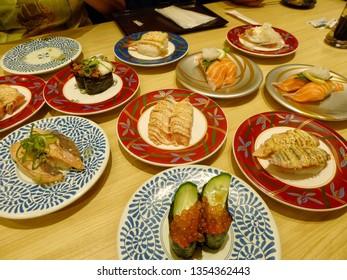 Conveyor belt sushi or Kaiten sushi in Osaka