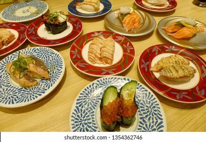 Conveyor belt sushi in Osaka