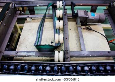The conveyor chain, and Conveyor belt damaged.