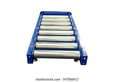 Conveyor roller system for industrial factory. Isolated on white background