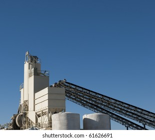 conveyors and silos at a cement factory