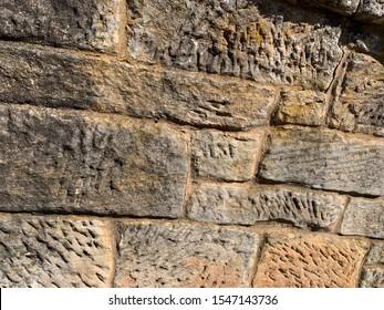 Convict hewn stone wall Richmond Tasmania