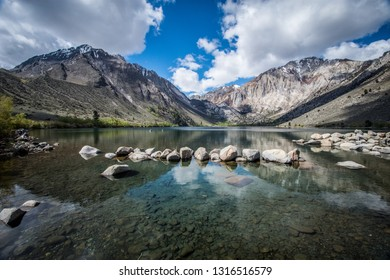 Convict Lake in the springtime, located off of US-395, near Mammoth Lakes California in the eastern Sierra Nevada mountains, Inyo National Forest.