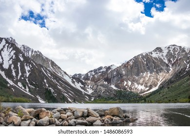 Convict lake views with mountain and snow background. Convict lake by Mammoth mountain in California.