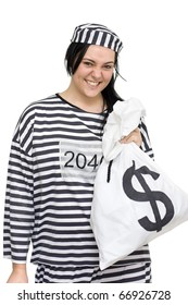 Convict Laughs All The Way From The Bank While Holding Money Bags Full Of Cash Proving Crime Does Pay