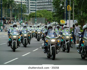 A convoy of polices for the Tour de Langkawi event