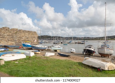 CONWY - August 25th, 2018: Moored boats and dinghies in Conwy harbour in North Wales UK