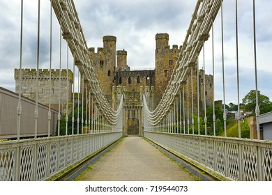 Conwy Castle and Conwy Suspension Bridge – built in 1826. Conwy Castle, North Wales. It belongs among Castles and Town Walls of King Edward in Gwynedd - UNESCO World Heritage site. UK