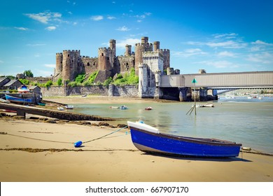 Conwy Castle in Wales in a beautiful summer day, England, United Kingdom.
