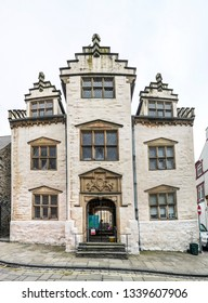 CONWY, WALES - MARCH 13, 2019: A view of an Elizabethan town house in the centre of Conwy, North Wales.
