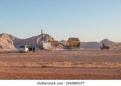 Coober Pedy, Australia - Jul 06, 2020:  Opal Mining fields in Coober Pedy with with 'noolding' mining machinery