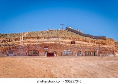 Coober Pedy, Australia - November 1, 2010: Underground Serbian Church. Coober Pedy is an opal mining town and known for its underground dwellings, built against the heat, known as dugouts.