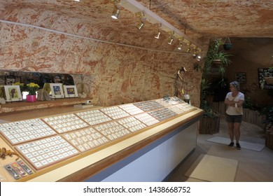 COOBER PEDY, SA - MAY 20 2019:An underground Opal mine store in Coober Pedy South Australia. Coober Pedy town supplying most of the world's gem-quality opal.