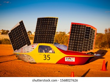 Coober Pedy, South Australia / Australia - October 16th 2019: University of Minnesota Solar Vehicle Project car, Eos II recharging during Bridgestone World Solar Challenge.
