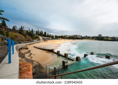 Coogee Beach, Sydney, Australia - September 24, 2018: Tidal pools at the end of Bondi to Coogee coastal walking track at Coogee Beach, NSW, Australia.