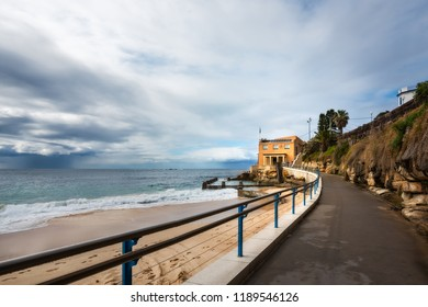 Coogee Beach, Sydney, Australia - September 24, 2018: The end of Bondi to Coogee coastal walking track at Coogee Beach tidal pools with the Life Saving Club at the end of the perspective.