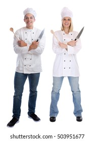 Cook apprentice trainee trainees cooks standing full body cooking with knife job young isolated on a white background