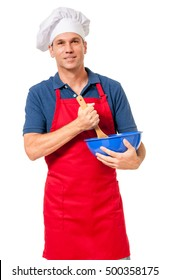 Cook Chef with Mixing Bowl on White