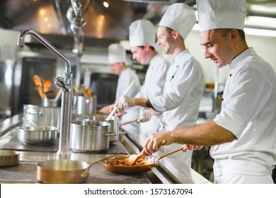 cook cooks in a restaurant