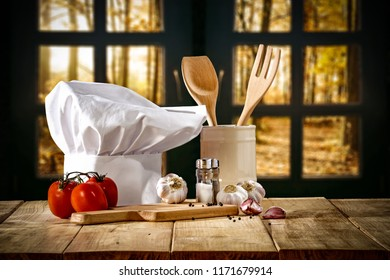 Cook hat and autumn window