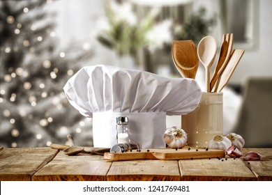 Cook hat and christmas home interior